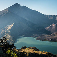 Mount Rinjani - at 3,726m high an active volcano, popular for hikers and the hot spring thought to have healing powers